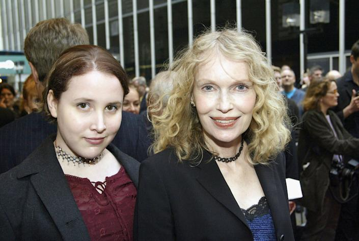 """Dylan Farrow, left, and her mother Mia Farrow arrive at the Opening Night of """"Gypsy"""" at The Shubert Theatre in New York City on May 1, 2003<span class=""""copyright"""">Bruce Glikas—Getty Images</span>"""