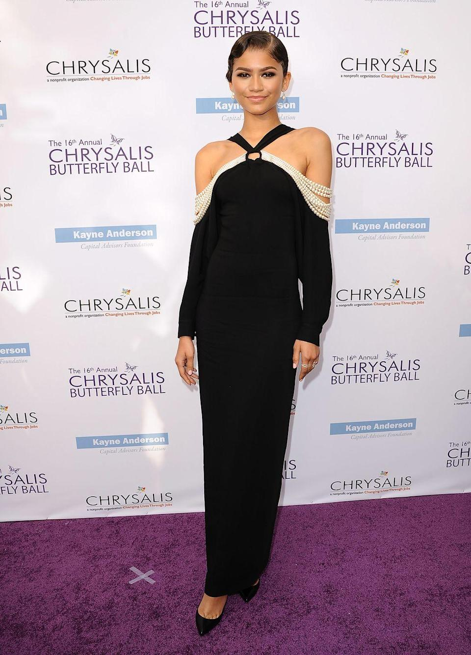 <p>At the 2017 Chrysalis Butterfly Ball, this pearly black dress served us with some chic Golden Age vibes with the luxe neckline. </p>