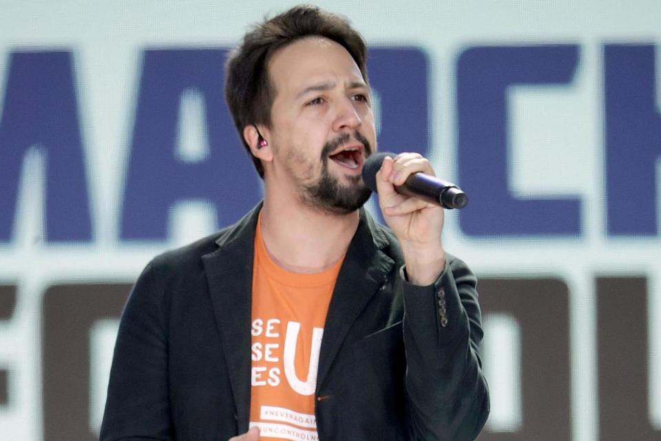 <p>Lin-Manuel Miranda joins Jennifer Lopez and Justin Timberlake for the inauguration</p> (Getty)