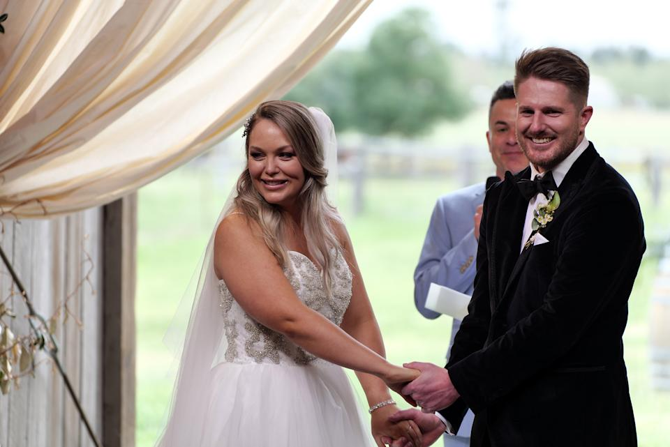 MAFS' Bryce and Melissa at their wedding.