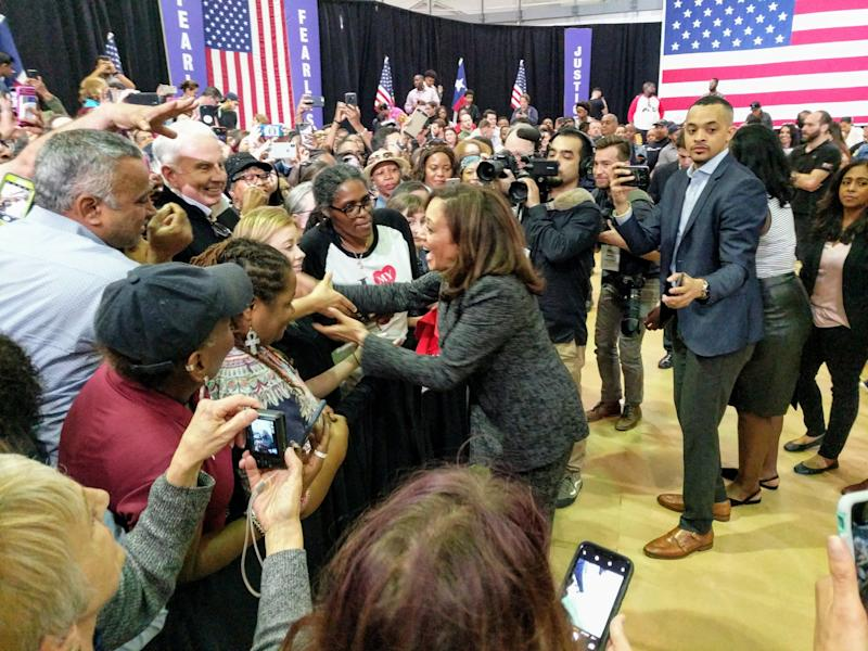 Kamala Harris greets supporters at Texas Southern University in Houston. (Photo: Roque Planas)