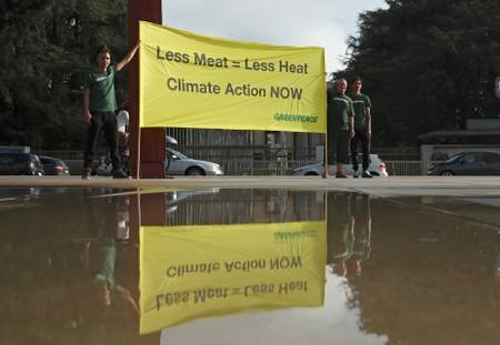 Greenpeace holds a protest in front of U.N. in Geneva