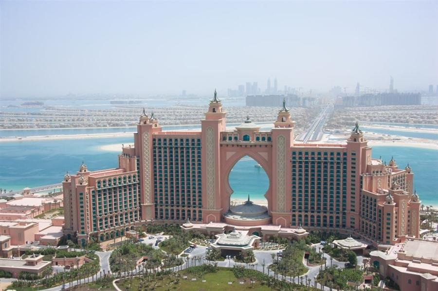 Located on The Palm Islands archipelago, the Atlantis hotel is modelled on its namesake in the Bahamas and has the same underwater theme. It accommodates more than 1,500 rooms across 23 floors and includes Dolphin Bay, an attraction which enables guests to swim with the graceful mammals.