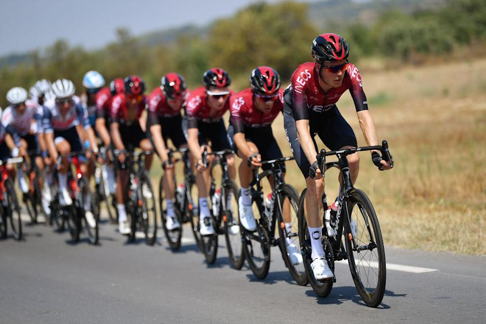 BEZIERS FRANCE  AUGUST 01 Dylan Van Baarle of The Netherlands and Team Ineos  Jonathan Castroviejo of Spain and Team Ineos  Tao Geoghegan Hart of The United Kingdom and Team Ineos  during the 44th La Route dOccitanie  La Depeche du Midi 2020 Stage 1 a 187km stage from Saint Affrique to Cazouls ls Bziers  RouteOccitanie  RDO2020  on August 01 2020 in Beziers France Photo by Justin SetterfieldGetty Images