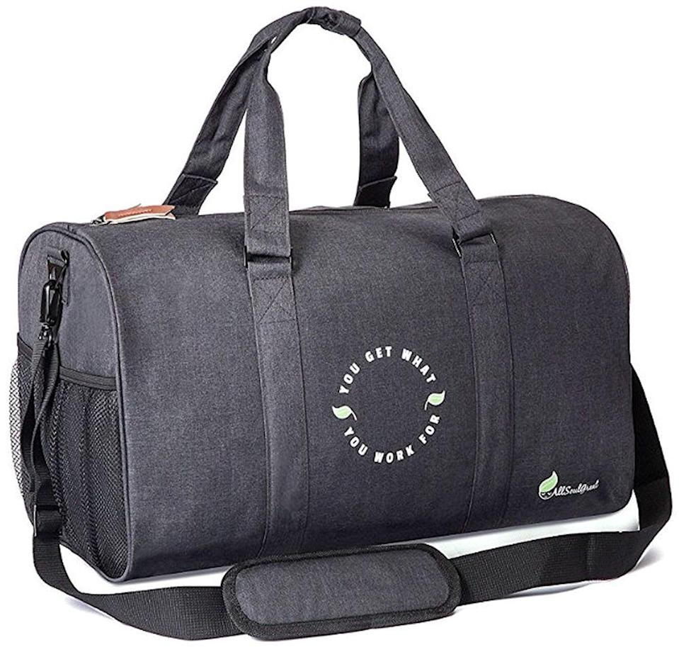 <p>This <span>All Soul Great Inspirational Sports Duffel Gym Bag</span> ($24) has everything you need: mesh holders for water bottles, a separate ventilated shoe compartment, and water- and UV-resistant fabric. </p>