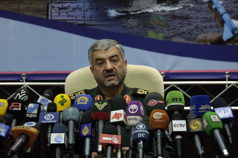 """Commander of Iran's Revolutionary Guard Gen. Mohammad Ali Jafari, speaks in a press conference in Tehran, Iran, Sunday, Sept. 16, 2012. The top commander in Iran's powerful Revolutionary Guard has warned that """"nothing will remain"""" of Israel if it takes military action against Tehran over its controversial nuclear program. (AP Photo/Vahid Salemi)"""