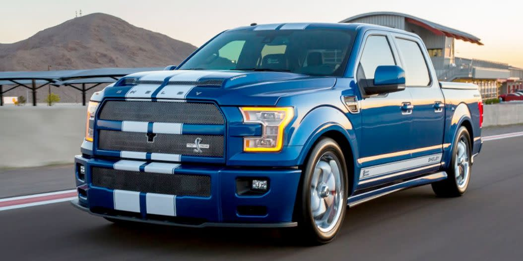 "<p>Sporting a massive grille and a lower stance, the F-150 Super Snake is one of the most extreme aftermarket F-150 kits you can buy. The supercharged V-8 under the hood makes 750 horsepower, and it even comes with a three-year warranty. <a href=""https://www.ebay.com/itm/2017-Ford-F150-super-snake/163815329851?hash=item262427903b:g:0aMAAOSw~JFcSyLl"" target=""_blank"">This one</a> has just 40 miles on the clock, and you can own it now. </p>"