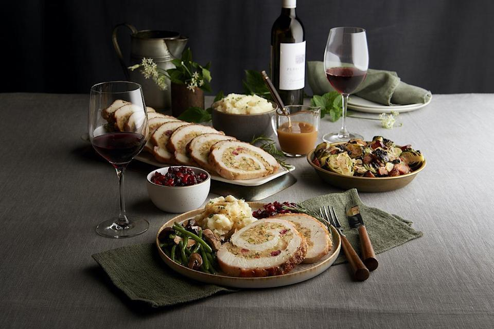 """<p>The Thanksgiving menu at Morton's The Steakhouse includes oven-roasted turkey roulade with savory sage and cranberry stuffing; smoked gouda au gratin; bacon and onion <a href=""""https://www.thedailymeal.com/cook/25-amazing-mac-and-cheese-recipes-0?referrer=yahoo&category=beauty_food&include_utm=1&utm_medium=referral&utm_source=yahoo&utm_campaign=feed"""" rel=""""nofollow noopener"""" target=""""_blank"""" data-ylk=""""slk:macaroni and cheese"""" class=""""link rapid-noclick-resp"""">macaroni and cheese</a>; <a href=""""https://www.thedailymeal.com/recipes/cheesecake-factorys-crispy-brussels-sprouts-recipe?referrer=yahoo&category=beauty_food&include_utm=1&utm_medium=referral&utm_source=yahoo&utm_campaign=feed"""" rel=""""nofollow noopener"""" target=""""_blank"""" data-ylk=""""slk:Brussels sprouts"""" class=""""link rapid-noclick-resp"""">Brussels sprouts</a>; winter salad with spiced walnuts, dried fruit, blue cheese crumbles and creamy balsamic dressing; pumpkin cheesecake with sea salt caramel; cranberry relish; turkey gravy; and egg and onion bread.</p> <p>This is available for pre-order takeout only at select locations — Chicago Wacker, Chicago State St., Naperville, Northbrook, Rosemont, Schaumburg, St. Louis, Cincinnati, Cleveland, Pittsburgh, Troy, Biloxi, Dallas, Houston, Louisville, Nashville, San Antonio, Boston — and costs $49 per person or $165 for a pre-order package that feeds four. Both are available for takeout only.</p> <p>All other locations will serve a regular dinner menu featuring steak and lobster Oscar, but all will offer a Duckhorn Vineyards wine package for $159 available for dine-in or to-go that features one bottle of each: Goldeneye Pinot Noir, Duckhorn Napa Cabernet Sauvignon, Decoy Brut Cuvee and a bonus bottle of sparkling wine.</p>"""