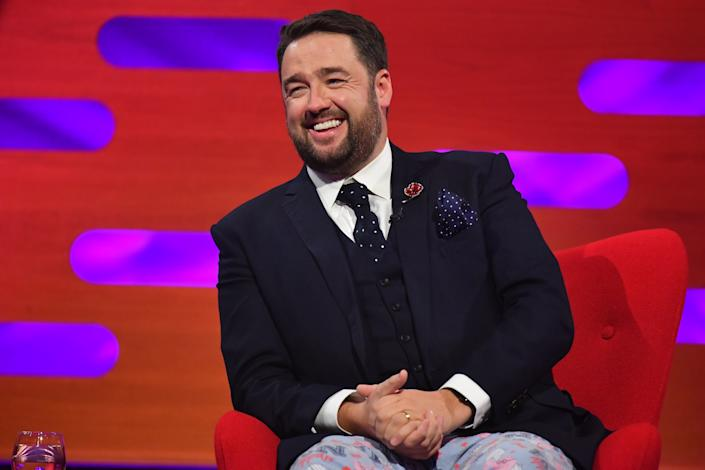 Jason Manford during the filming for the Graham Norton Show at BBC Studioworks 6 Television Centre, Wood Lane, London, to be aired on BBC One on Friday evening. Picture date: Thursday November 5, 2020. Photo credit should read: PA Media on behalf of So TV (Photo by Matt Crossick/PA Images via Getty Images)