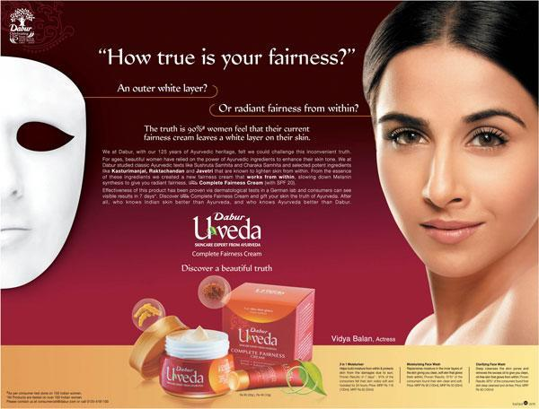 """""""How true is your fairness?"""" Is the line that Dabur's Uveda, which features Vidya Balan, asks. The actress, who has been known for helming strong women oriented roles, was among the celebrities pulled up by Abhay Deol for endorsing fairness products."""