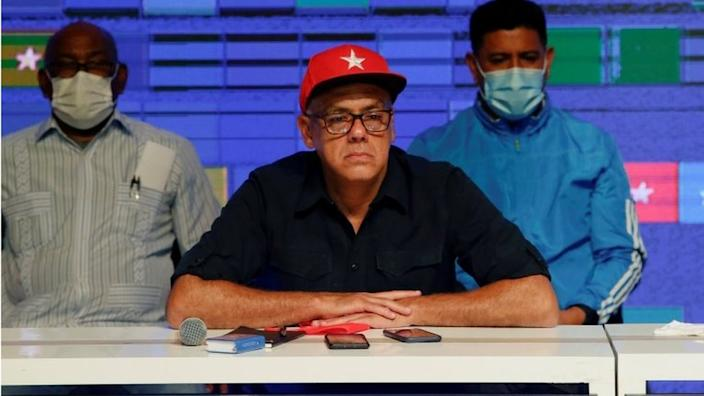Parliamentary candidate Jorge Rodriguez looks on after the announcement of the results of the parliamentary election at the Bolivar Theater in Caracas, Venezuela, December 6, 2020