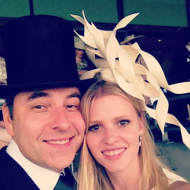 Celebrity photos: David Walliams and his wife, Lara Stone got their glad rags on this week as they presented awards at Ascot. David then tweeted this photo of the glammed up pair. Copyright [David Walliams]