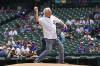 Former Notre Dame basketball coach Digger Phelps throws out a ceremonial first pitch before a baseball game between the Arizona Diamondbacks and the Chicago Cubs in Chicago, Saturday, July 24, 2021. (AP Photo/Nam Y. Huh)