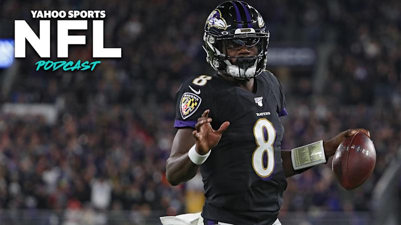 Lamar Jackson and the Baltimore Ravens blew out the previously undefeated New England Patriots 37-20 on Sunday night. (Photo by Todd Olszewski/Getty Images)