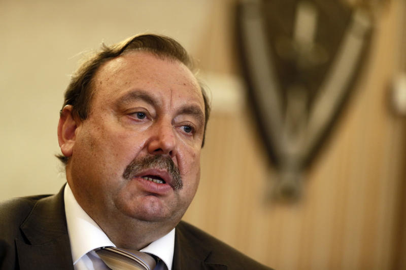 Opposition lawmaker Gennady Gudkov speaks to the media in his office in Moscow, Wednesday, Sept. 12, 2012. Gudkov, former KGB officer, has played a key role in protest against President Vladimir Putin's rule. (AP Photo/Sergey Ponomarev)