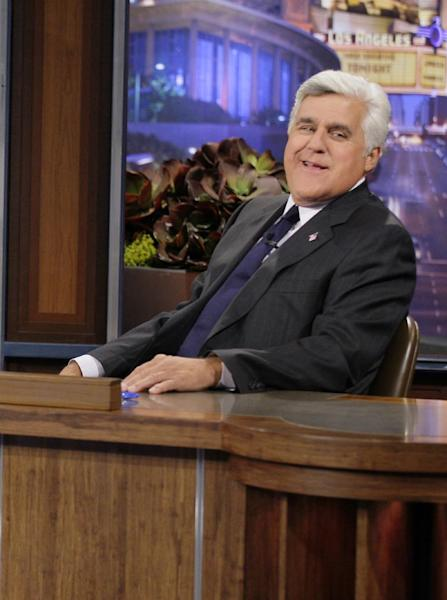 "This Sept. 21, 2012 photo released by NBC shows Jay Leno, host of ""The Tonight Show with Jay Leno,"" on the set in Burbank, Calif. As Jay Leno lobs potshots at ratings-challenged NBC in his ""Tonight Show"" monologues, speculation is swirling the network is taking steps to replace the host with Jimmy Fallon next year and move the show from Burbank to New York. NBC confirmed Wednesday, March 20, it's creating a new studio for Fallon in New York, where he hosts ""Late Night."" But the network did not comment on a report that the digs at its Rockefeller Plaza headquarters may become home to a transplanted, Fallon-hosted ""Tonight Show."" (AP Photo/NBC, Paul Drinkwater)"