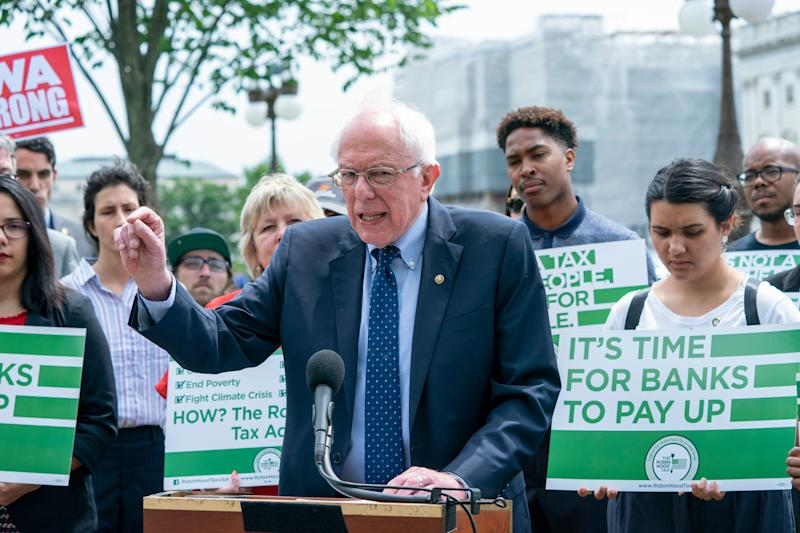 Democratic presidential candidate, Sen. Bernie Sanders, I-Vt., speaks at the Capitol to introduce the Inclusive Prosperity Act, which would impose a tax on Wall Street speculation, in Washington, Wednesday, May 22, 2019.