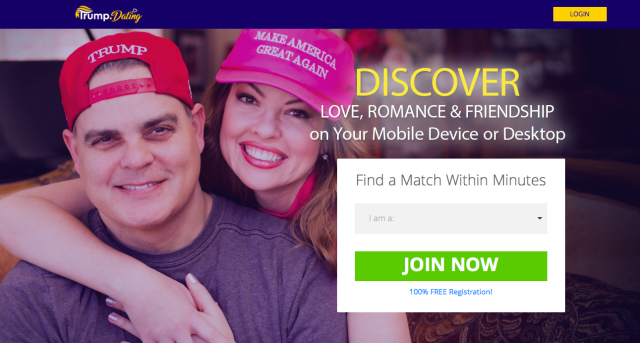 William Barrett Riddleberger and his wife, Jodi, in their Trump.Dating ad. (Trump.Dating)