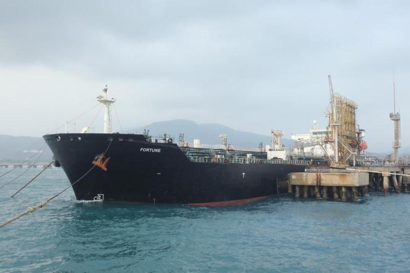 """The Iranian tanker ship """"Fortune"""" is seen at El Palito refinery dock in Puerto Cabello"""