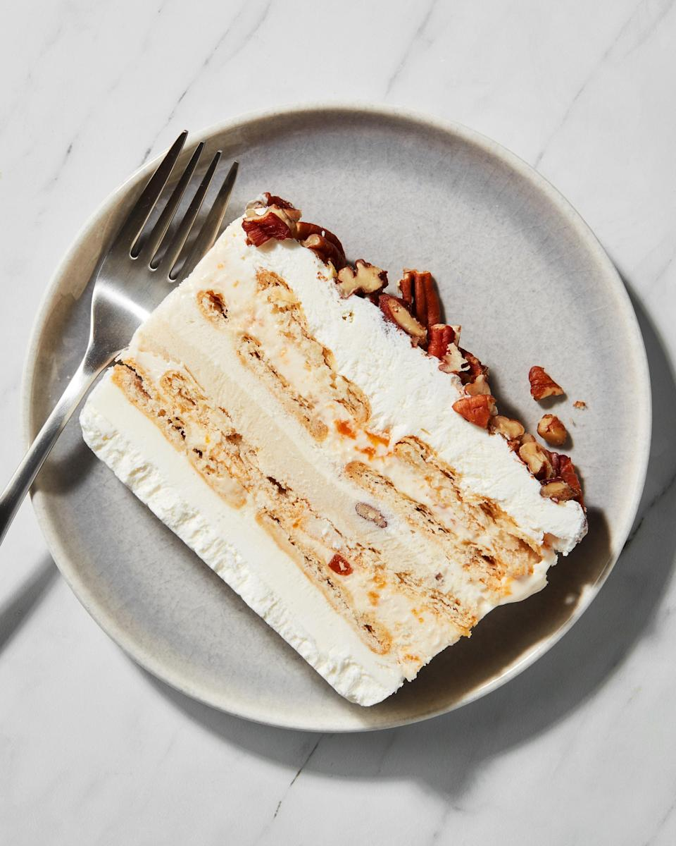"""<h1 class=""""title"""">Peach and Praline Ice Cream Icebox Cake Slice - IG - INSET</h1><cite class=""""credit"""">Photo by Joseph De Leo, Food Styling by Michelle Gatton</cite>"""