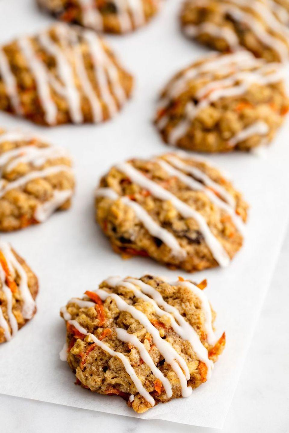 "<p>Take whatever carrots the Easter Bunny didn't eat (we know you left him some) and use them to create these spicy carrot cake cookies. </p><p><em><a href=""https://www.delish.com/cooking/recipe-ideas/recipes/a50448/carrot-cake-cookies-recipe/"" rel=""nofollow noopener"" target=""_blank"" data-ylk=""slk:Get the recipe from Delish »"" class=""link rapid-noclick-resp"">Get the recipe from Delish »</a></em> </p>"