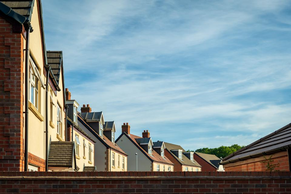 Row of new built houses in england uk.