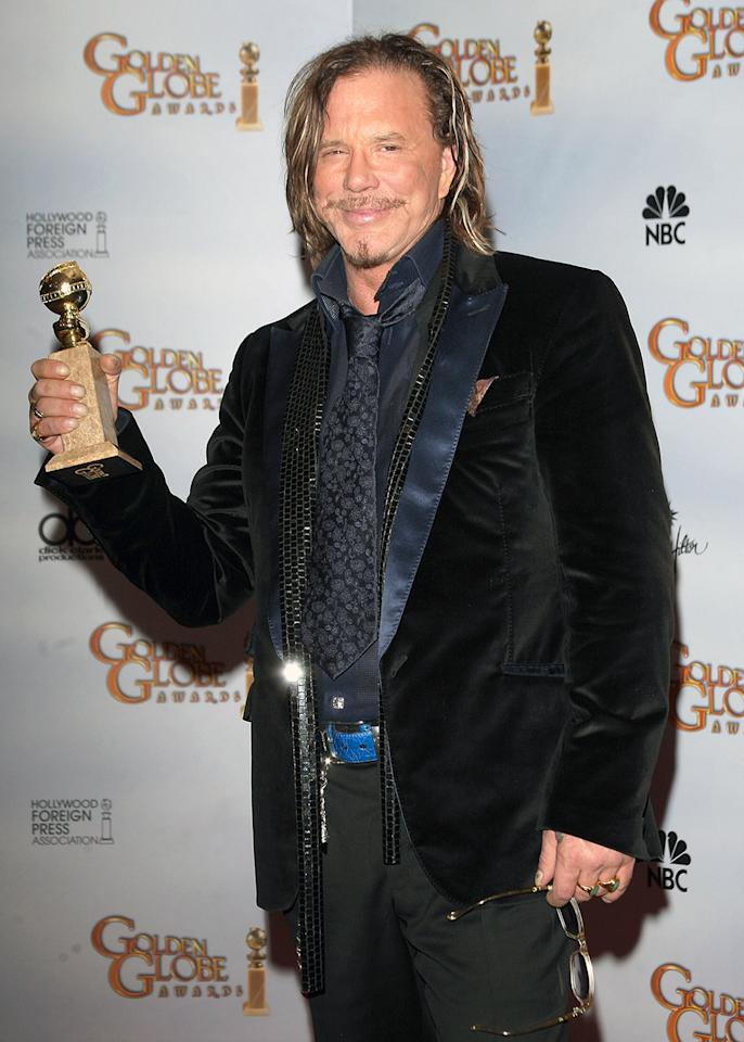 "Mickey Rourke's Best Actor acceptance speech for ""The Wrestler"" at the 2009 Globes was a thing of beauty, as a gracious Rourke thanked all those that helped him get back to the top, including a special shout-out to his dogs — past and present — for helping him through some tough times. It was the Best Actor winner's director, Darren Aronofsky, that drew the scorn of NBC and the FCC after he flipped Rourke an affectionate middle finger that made it onto live TV on the East Coast."