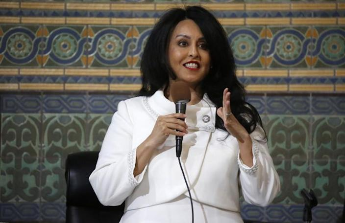 LOS ANGELES, CA - JANUARY 14, 2020 Los Angeles City Council 6th district representative Nury Martinez addresses the crowded city council chambers Tuesday for the first time as President of the City Council. A daughter of Mexican immigrants she becomes the first Latina to presided over Los Angeles City Council meetings as President chosen unanimously by the City Council last December. (Al Seib / Los Angeles Times)