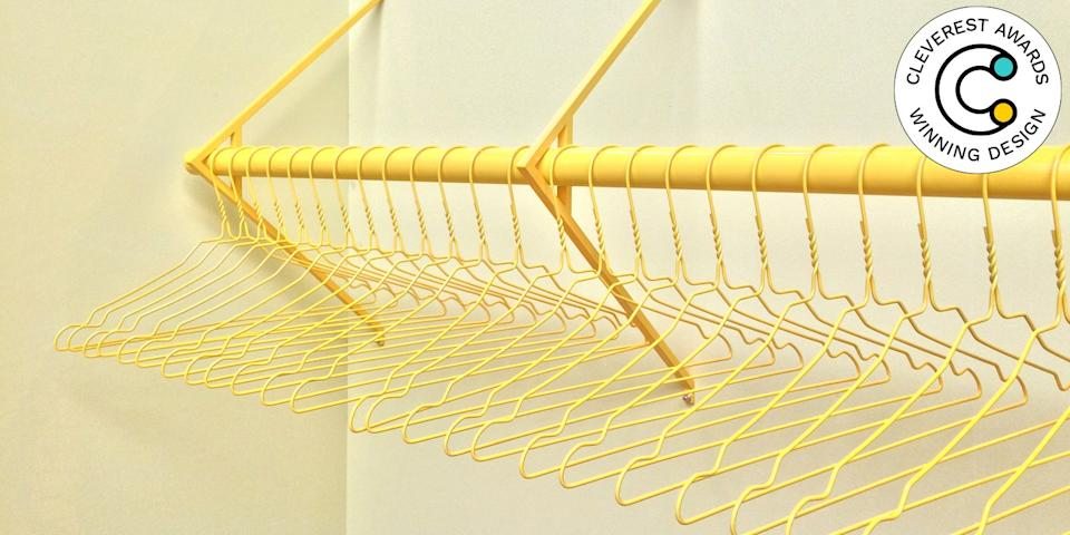 Wardrobe by Emiel Remmelts One of the simplest upgrades you can make to your closet is matching hangers. One step further: a bar that matches those hangers. Made to order per meter, Emiel Remmelts's colorful Wardrobe is so pretty you'll want to install it out in the open for all to see. emielremmelts.com