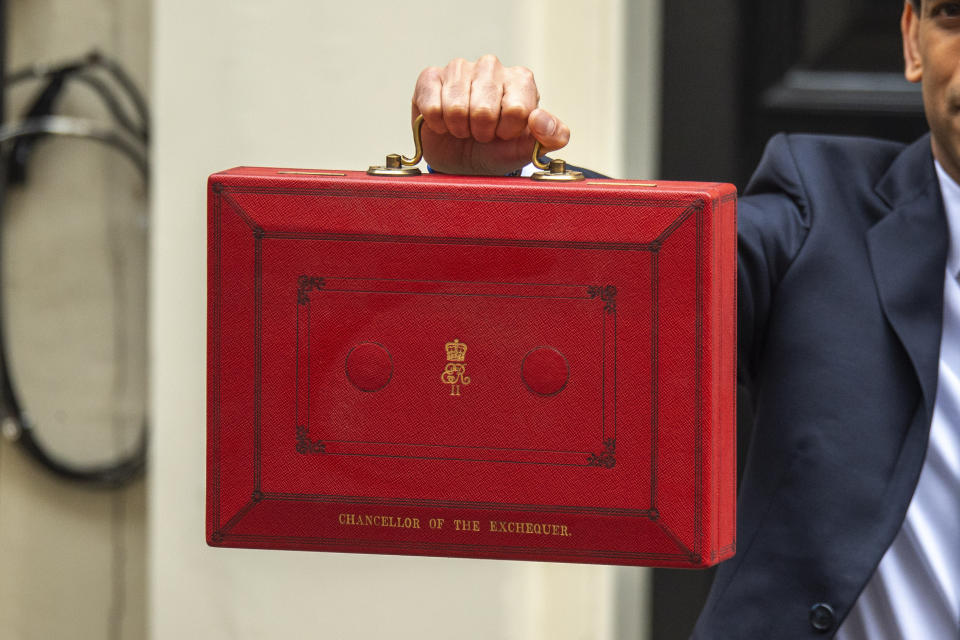 The red box held by British Chancellor of the Exchequer, Rishi Sunak outside number 11 Downing Street before presenting the budget in Parliament. (Photo by Dave Rushen / SOPA Images/Sipa USA)