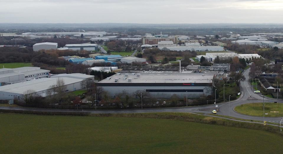 General view of the Wockhardt pharmaceutical plant near Wrexham, Britain, January 27, 2021. Picture taken with a drone. REUTERS/Phil Noble