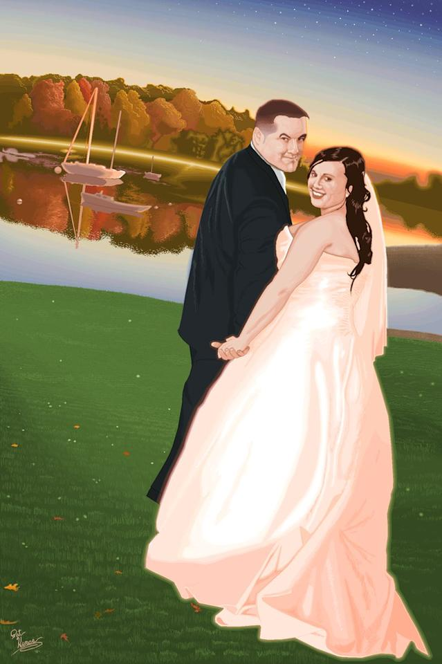 <p>This picture of a wedding day was created with the click of a mouse </p>