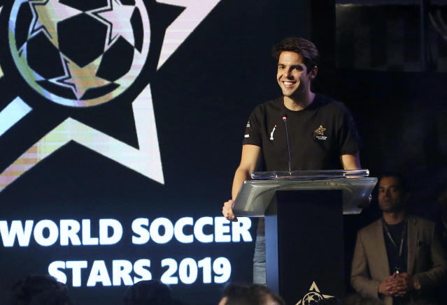 FILE - In this Thursday, Jan. 10, 2019 file photo, Brazilian soccer player Ricardo Kaka smiles during a ceremony in Karachi, Pakistan. Kaka is encouraging compatriot Neymar stay at Paris Saint-Germain after a failed attempt to return to Barcelona. The worlds most expensive player was jeered on his return to the PSG side last weekend after sitting out the four league games as he pushed for a move back to Barcelona during the summer transfer window. (AP Photo/Fareed Khan, file)