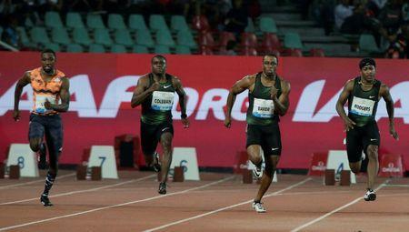 Athletics - Diamond League - Rabat, Morocco - July 13, 2018 Christian Coleman, Ronnie Baker and Michael Rodgers of the U.S. compete in Men's 100m REUTERS/Youssef Boudlal