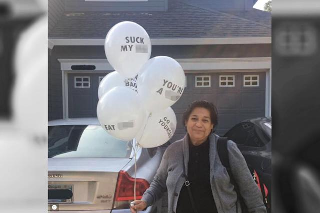 "This woman's grandmother showed up to her party with quite a shocking bouquet of ""birthday"" balloons. (Photo: Twitter/Arihrih)"