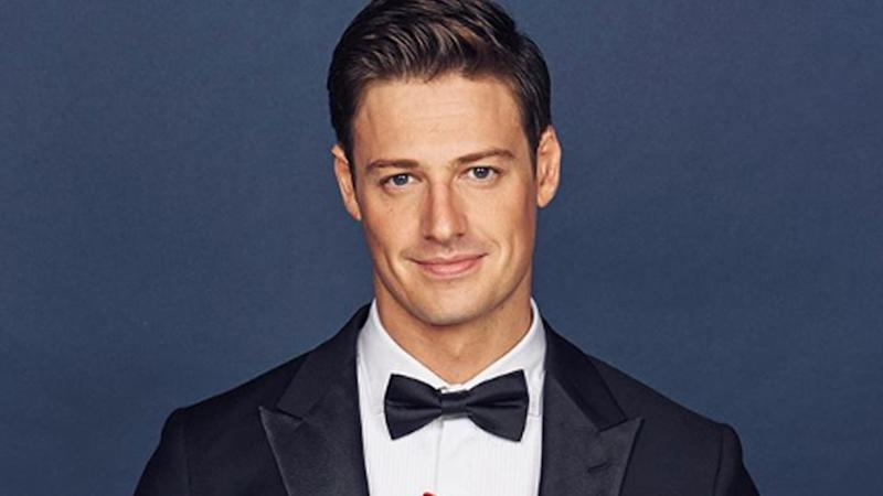 A photo of The Bachelor Australia Matt Agnew wearing a tuxedo.