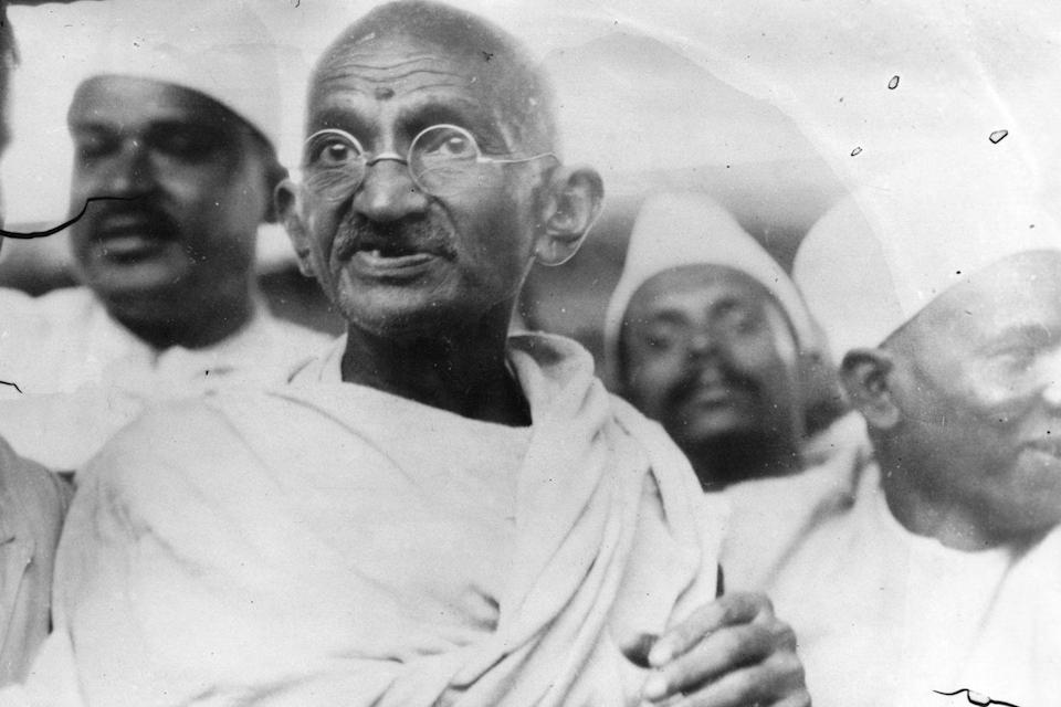<p>Mohandas Gandhi marches from his ashram in Sabermanti to the coastal town of Dandi to revolt against a British ban on making salt out of seawater. The march started on March 12, 1930 and ended on April 5, 1930, with thousands of people showing their support.</p>