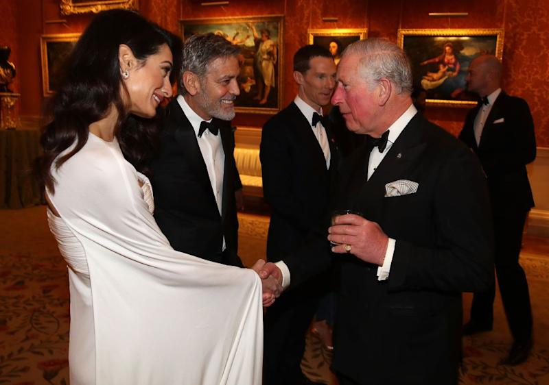 Amal Clooney Looks Like Actual Royalty for Dinner at Buckingham Palace