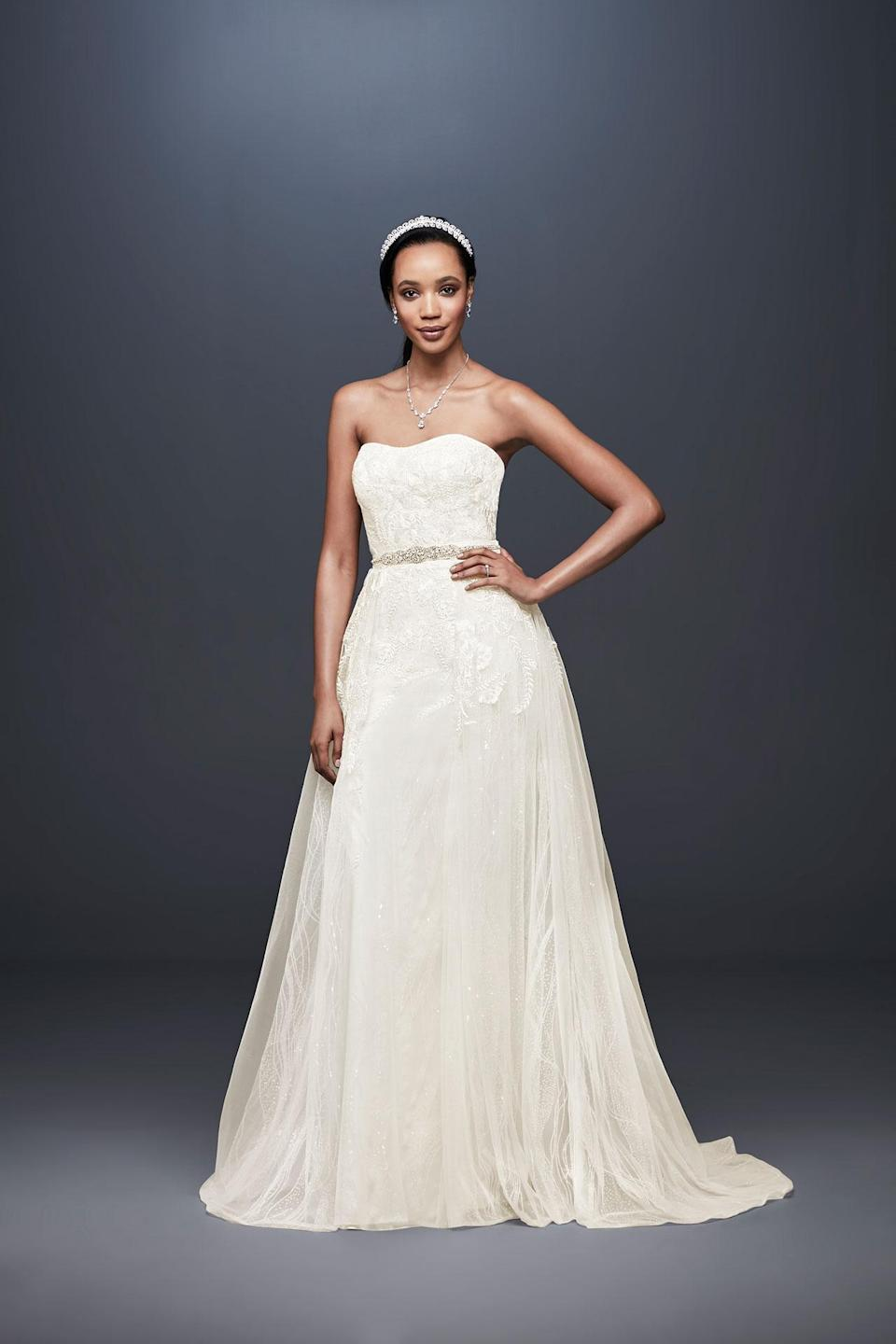 <p>Strapless embroidered dress. (Photo: Courtesy of David's Bridal) </p>