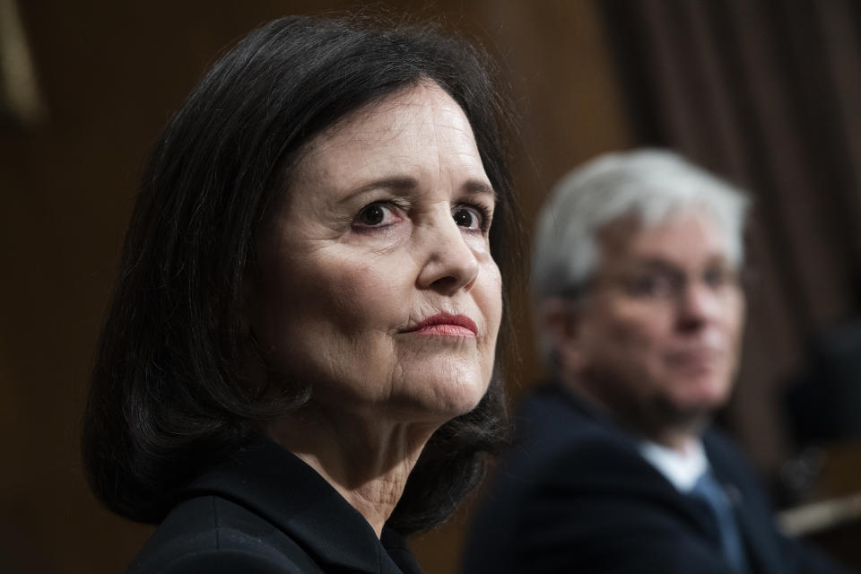 UNITED STATES - FEBRUARY 13: Judy Shelton and Christopher Waller, nominees to be members of the Board of Governors of the Federal Reserve System, testify during the Senate Banking, Housing, and Urban Affairs Committee confirmation hearing in Dirksen Building on Thursday, February 13, 2020. (Photo By Tom Williams/CQ-Roll Call, Inc via Getty Images)