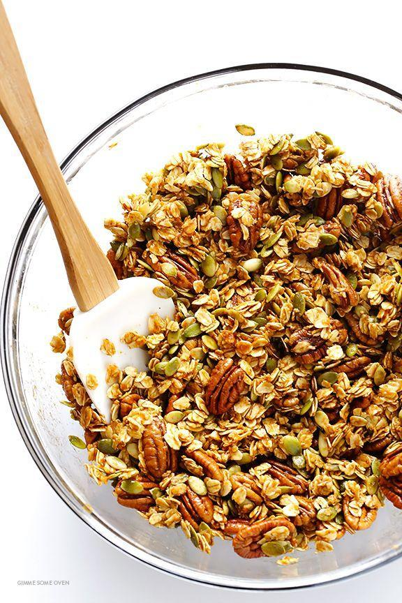 """<p>Your granola obsession just got real.</p><p>Get the recipe from <a href=""""https://www.gimmesomeoven.com/pumpkin-spice-granola/"""" rel=""""nofollow noopener"""" target=""""_blank"""" data-ylk=""""slk:Gimme Some Oven"""" class=""""link rapid-noclick-resp"""">Gimme Some Oven</a>.</p>"""