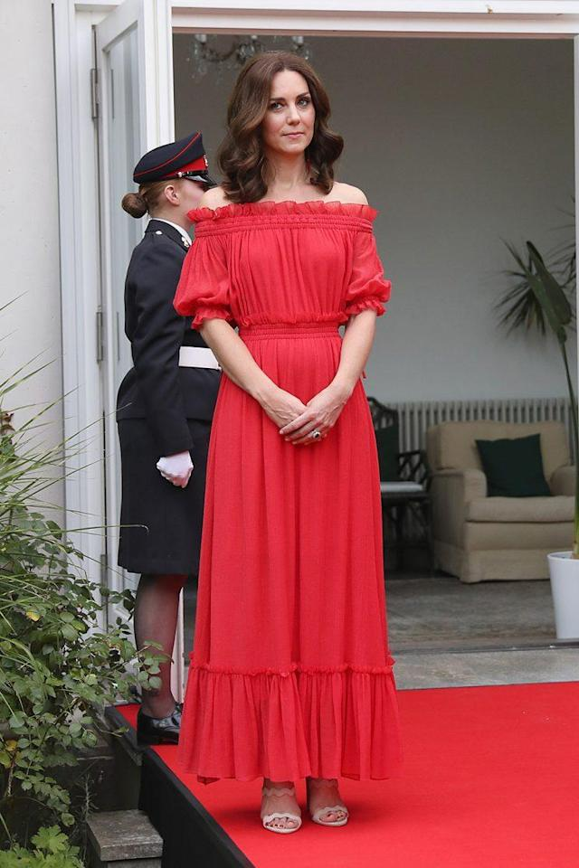 Kate Middleton shows off her shoulders. (Photo: Chris Jackson/Getty Images)
