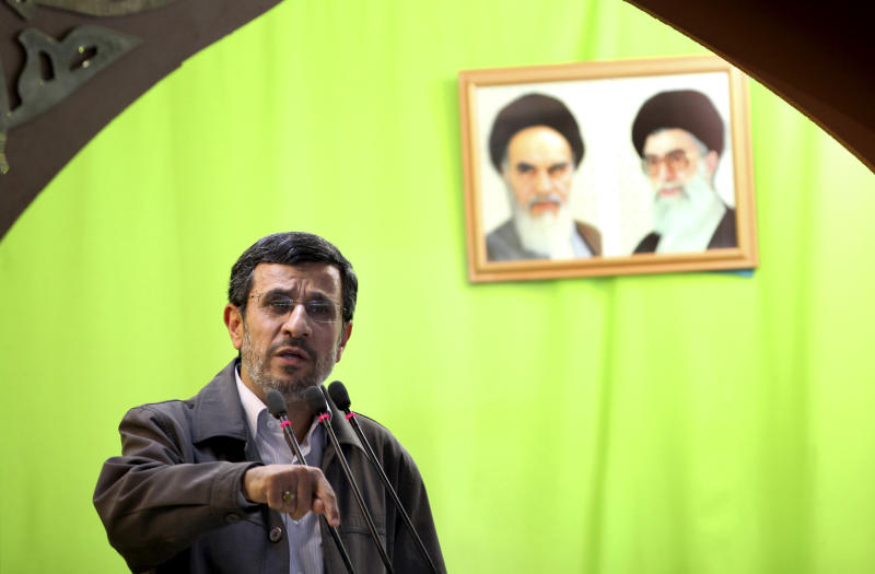 Iranian President Mahmoud Ahmadinejad speaks during Friday prayers ceremonies, after attending an annual nation-wide pro-Palestinian rally marking Al-Quds (Jerusalem) Day, in Tehran, Iran, Friday, Aug. 2, 2013. Outgoing President Ahmadinejad - who was known for vitriolic anti-Israeli rhetoric while in office, including calls that Israel be destroyed - spoke to the crowds after Friday prayers at the Tehran University campus in his last public speech before his term ends. (AP Photo/Ebrahim Noroozi)