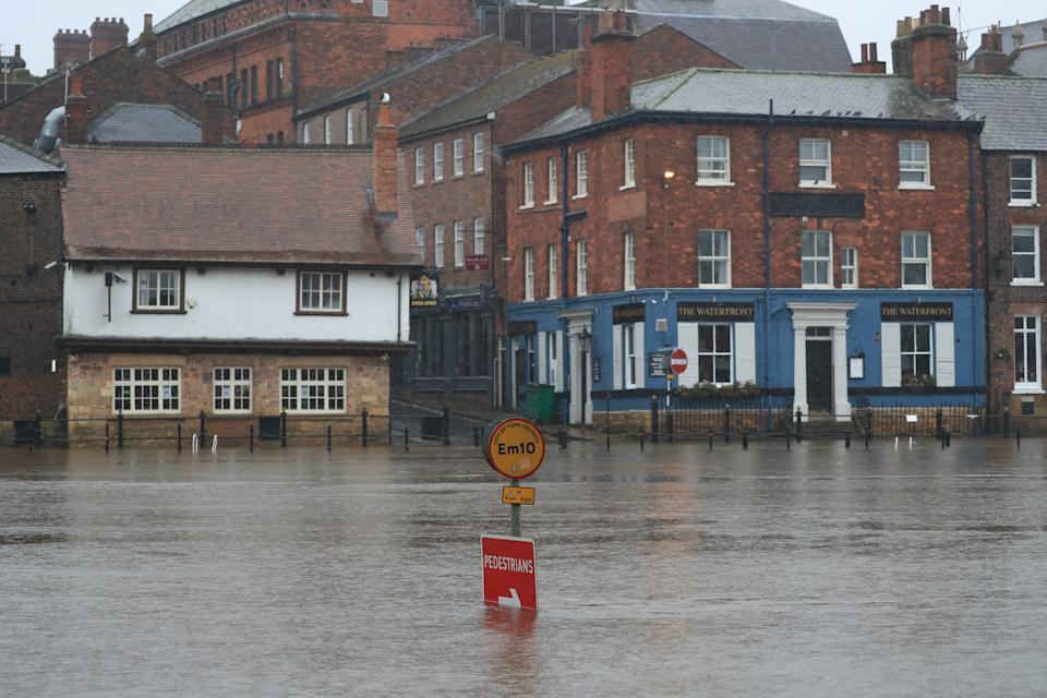 Flood water in York as Storm Christoph is set to bring widespread flooding, gales and snow to parts of the UK. Heavy rain is expected to hit the UK overnight on Tuesday, with the Met Office warning homes and businesses are likely to be flooded, causing damage to some buildings. Picture date: Tuesday January 19, 2021.