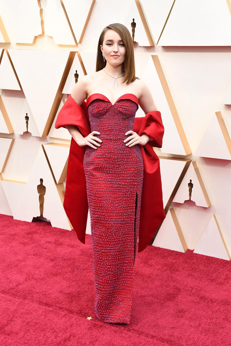 Why don't more dresses come with shawls like this one by Louis Vuitton? It adds a note of old-Hollywood glamour and protects you if it gets cold, which it apparently did on Sunday. Also, these colours look fantastic together, and Kaitlyn Dever told reporters that it's made sustainably. What's not to love?