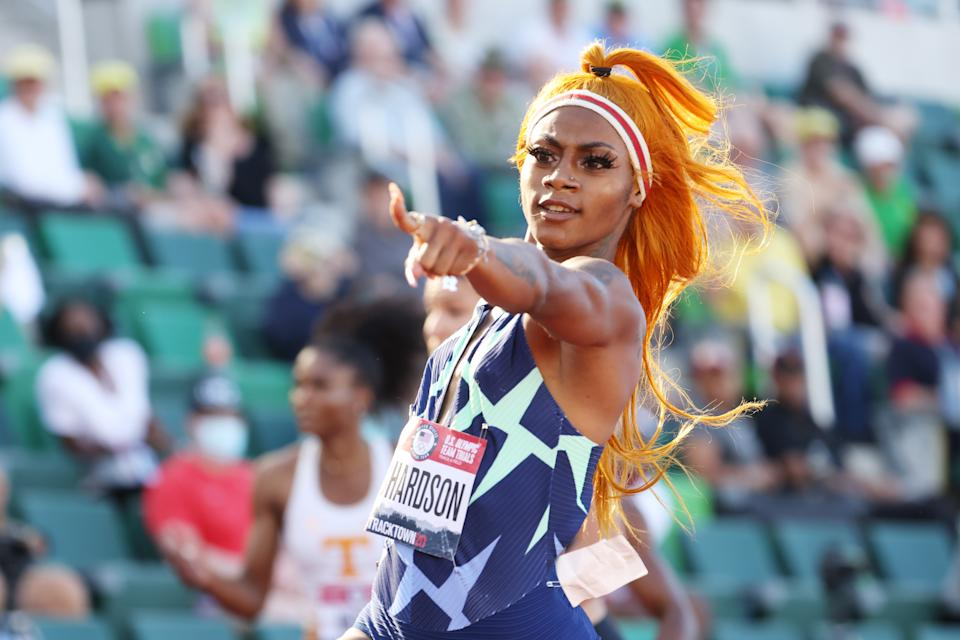 EUGENE, OREGON - JUNE 19: Sha'Carri Richardson competes in the Women's 100 Meter Semi-finals on day 2 of the 2020 U.S. Olympic Track & Field Team Trials at Hayward Field on June 19, 2021 in Eugene, Oregon. (Photo by Andy Lyons/Getty Images)