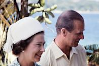 The pair pictured during their tour of Vanuatu, then called the New Hebrides. A sect in Vanuatu reveres Prince Philip as a divine being. (AFP via Getty Images)