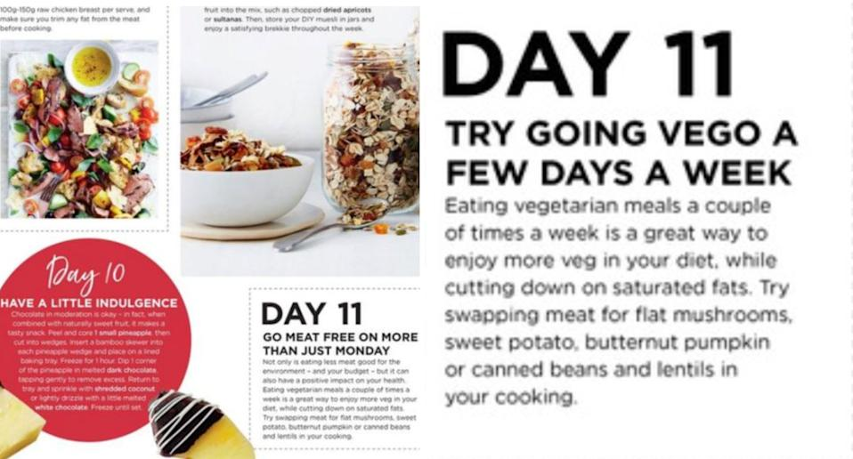 The magazine initially said meat was bad for the environment (left) until it was changed on Monday (right). Source: Coles
