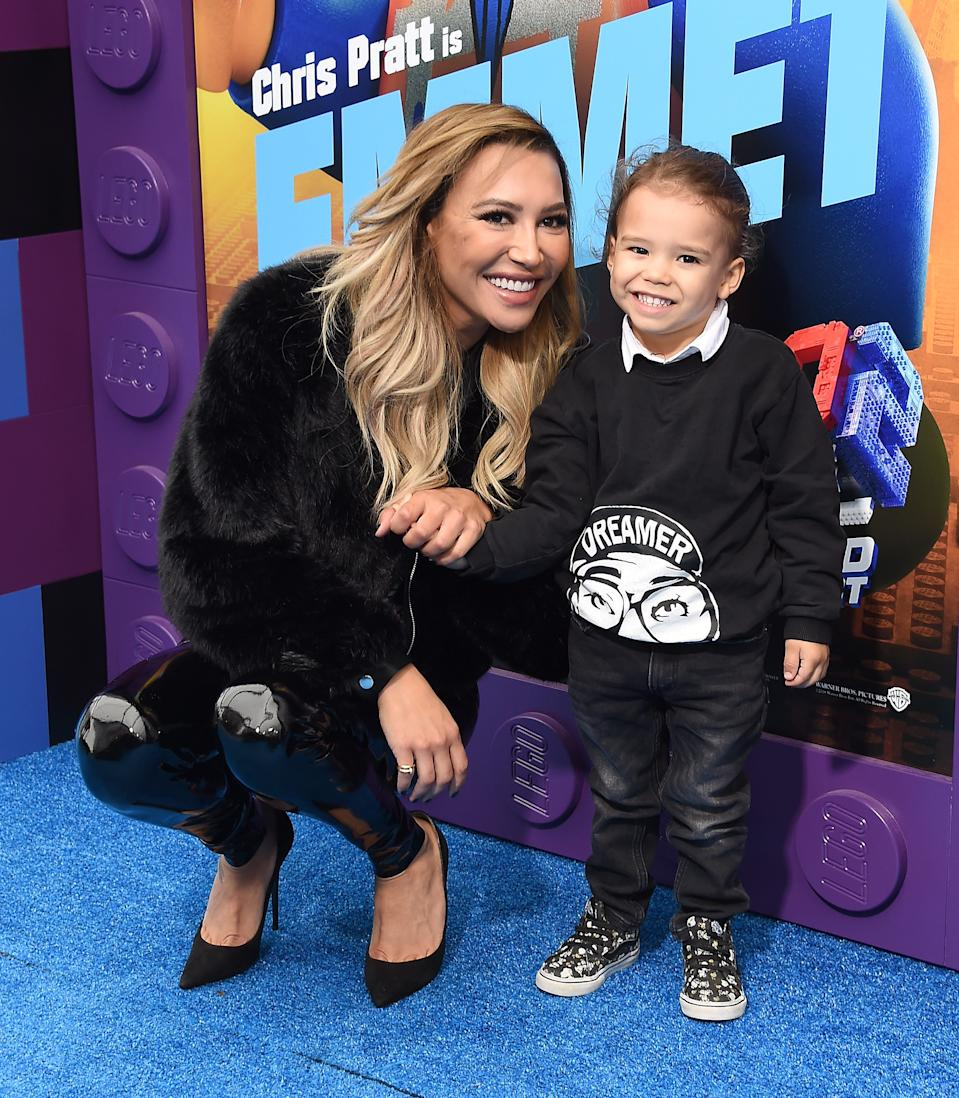 """Naya Rivera and son Josey Hollis Dorsey at the premiere of """"The Lego Movie 2: The Second Part"""" on Feb. 2, 2019 in Westwood, California."""