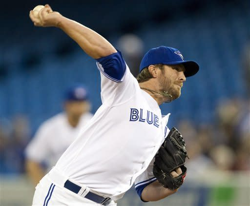 Toronto Blue Jays starting pitcher Kyle Drabek pitches to the Boston Red Sox in the first inning of a baseball game in Toronto on Tuesday, April 10, 2012. (AP Photo/The Canadian Press, Frank Gunn)